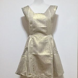 Esley Gold Metallic Holiday Party Evening Dress